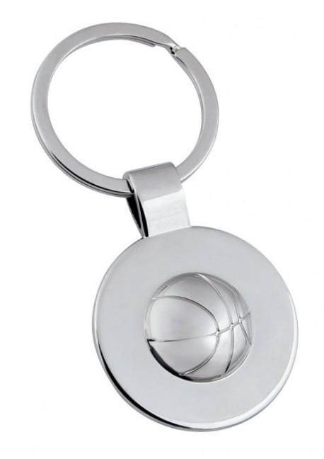 Porte-clé demi sphère ballon de basket en métal