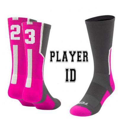 Chaussette ID player Rose/Gris