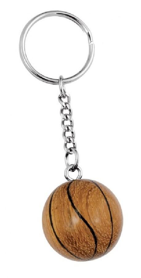Wooden basketball keychain