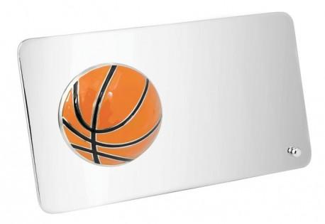 Plaquette métallique avec ballon de basketball en couleur